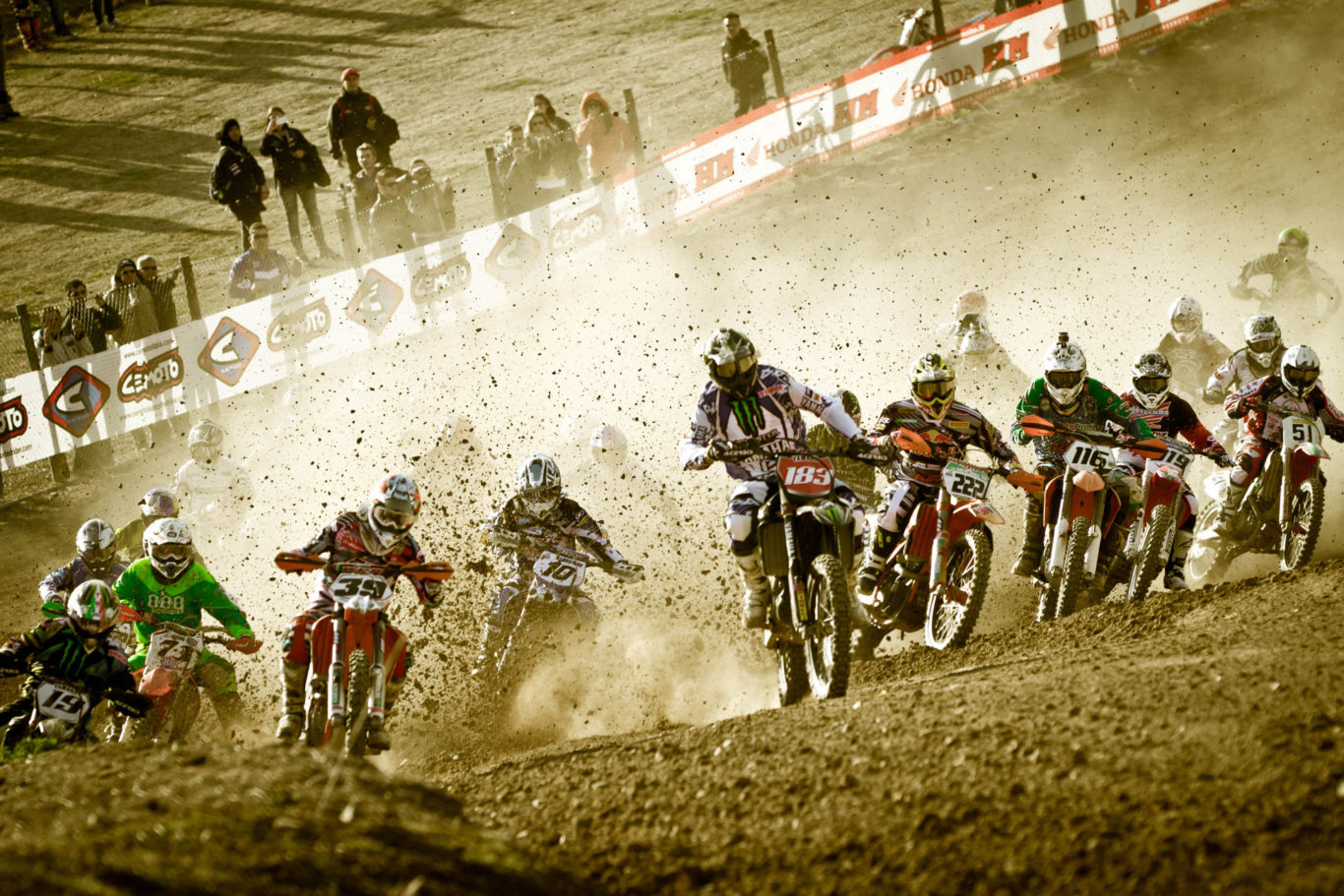 Best shot of The world Motocross championship race for the Italian international competition took place with around 100 riders from all over the world fighting to win the second last match of the tournament.