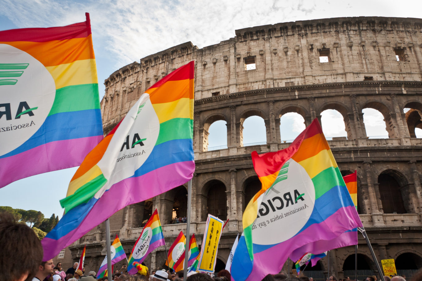 EuroPride 2011, Rome - Lesbian, bisexual, transgender, gay, intersex in parade on streets of Rome. more than 500.000 invaded the italian capital to claim their rights. From all over Europe come to italy for this day of peace, love and freedom. Many slogans and costumes were against church and Vatican to emphasize their discrimination against the gay world.