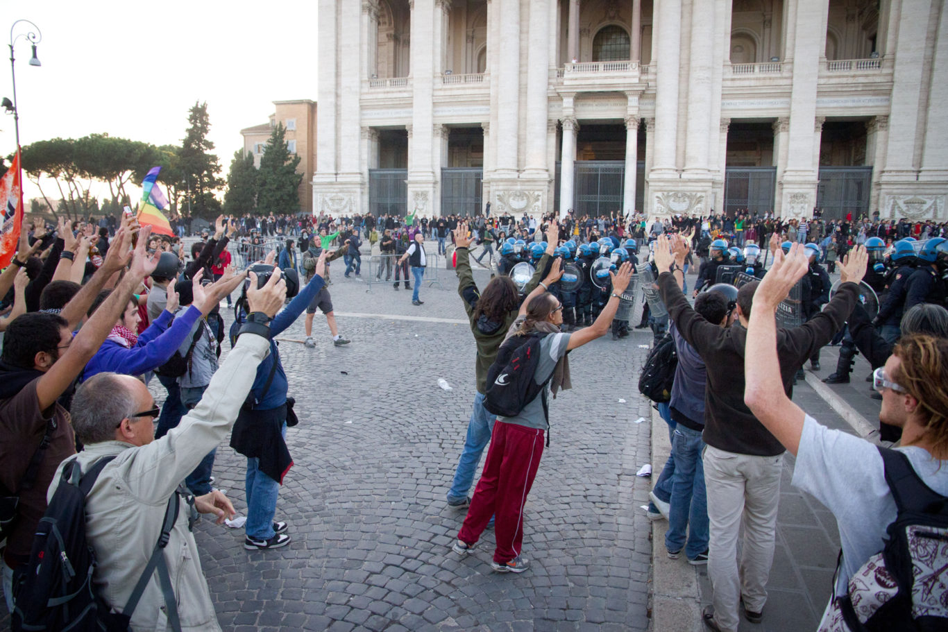 Rome - October 15th Global Day Of Action. On march from 14 pm Italians protesters have crossed the center of town crossing the termini station, Fori Imperiali, the Colosseum, to arrive at Piazza San Giovanni. Most of the clashes have occurred at the end on Piazza San Giovanni.